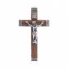 Religious Wood Cross Brown/ Nickle 29x47mm with ring Medium